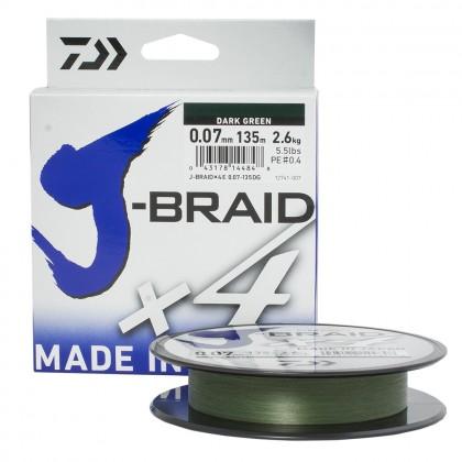 Плетёная леска Daiwa J-Braid x4 Dark Green 135м