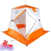 Палатка зимняя Следопыт КУБ 3 бело-оранжевая, 1.8x1.8x2м